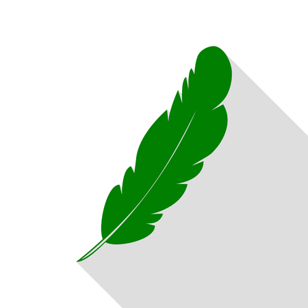 poet: Feather sign illustration. Green icon with flat style shadow path.