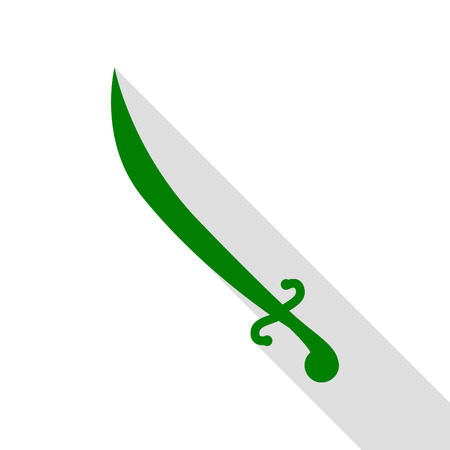 Sword sign illustration. Green icon with flat style shadow path.