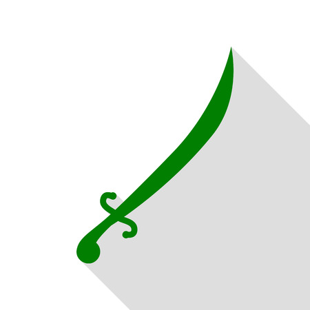roman soldier: Sword sign illustration. Green icon with flat style shadow path.