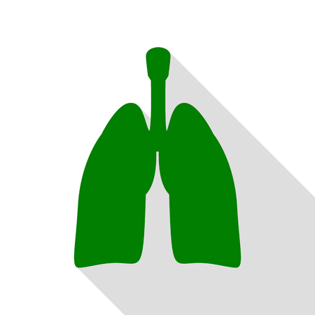 respiration: Human organs Lungs sign. Green icon with flat style shadow path.