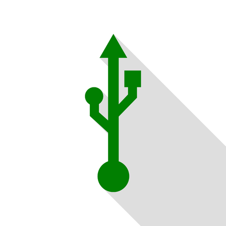 USB sign illustration. Green icon with flat style shadow path.