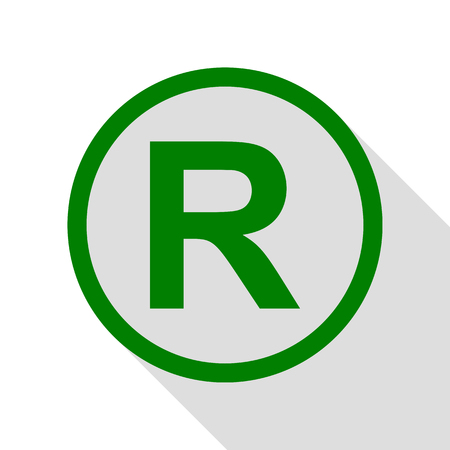 Registered Trademark sign. Green icon with flat style shadow path.