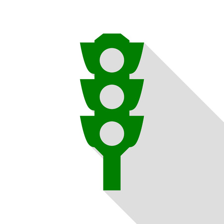 Traffic light sign. Green icon with flat style shadow path.