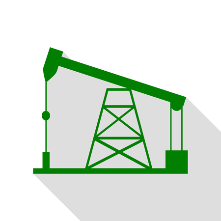 Oil drilling rig sign. Green icon with flat style shadow path. Illustration