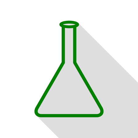 hypothesis: Conical Flask sign. Green icon with flat style shadow path.
