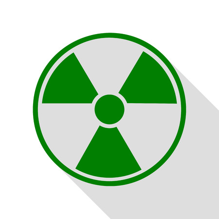 Radiation Round sign. Green icon with flat style shadow path.