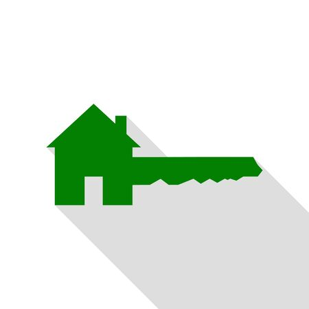 Home Key sign. Green icon with flat style shadow path.