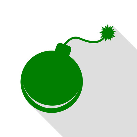 Bomb sign illustration. Green icon with flat style shadow path.