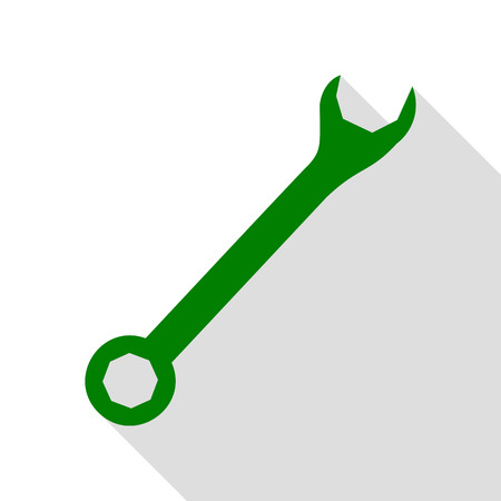 Crossed wrenches sign. Green icon with flat style shadow path. Illustration