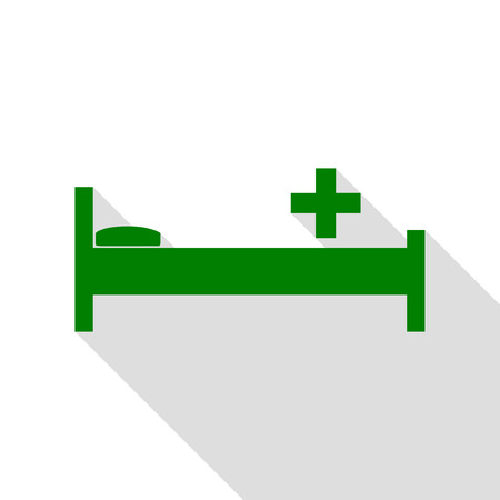 Hospital sign illustration. Green icon with flat style shadow path. Illustration