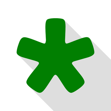 reference point: Asterisk star sign. Green icon with flat style shadow path.