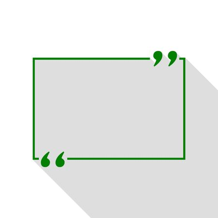 inverted: Text quote sign. Green icon with flat style shadow path. Illustration