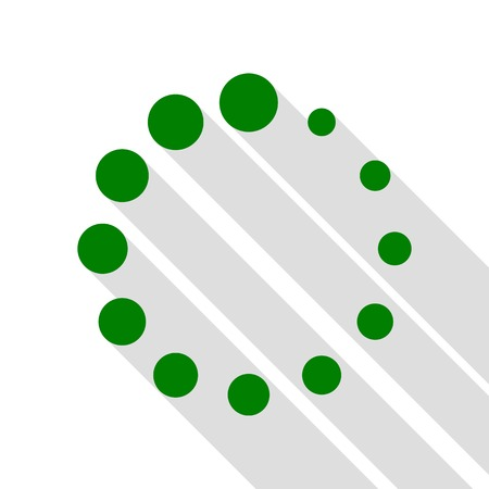 Circular loading sign. Green icon with flat style shadow path. Illustration