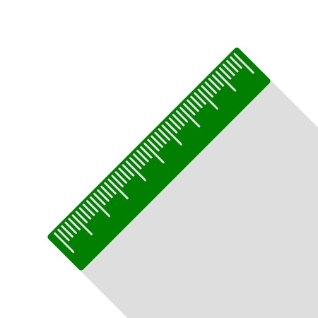 Centimeter ruler sign. Green icon with flat style shadow path. Illustration