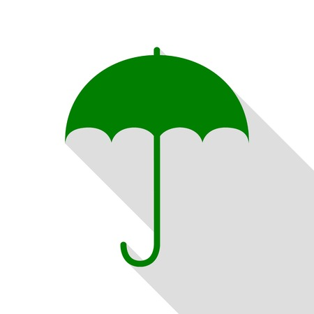 nylon: Umbrella sign icon. Rain protection symbol. Flat design style. Green icon with flat style shadow path.