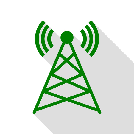 tv tower: Antenna sign illustration. Green icon with flat style shadow path.