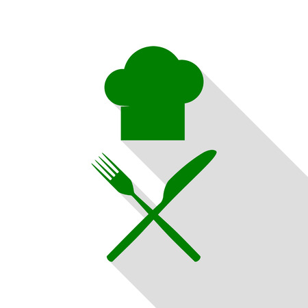 Chef with knife and fork sign. Green icon with flat style shadow path.