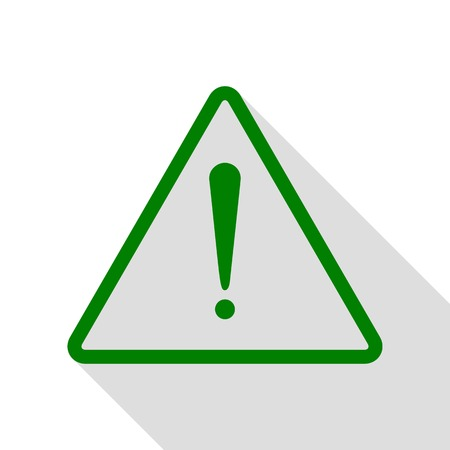 Exclamation danger sign. Flat style. Green icon with flat style shadow path. Illustration