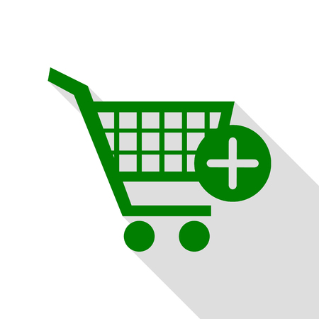 Shopping Cart with add Mark sign. Green icon with flat style shadow path. Illustration