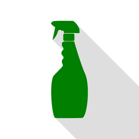 Plastic bottle for cleaning. Green icon with flat style shadow path.