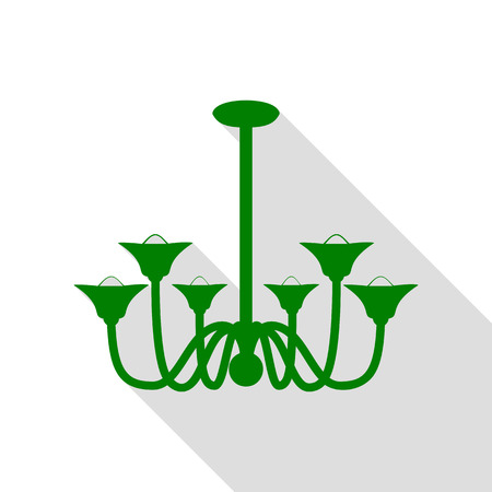 Chandelier simple sign. Green icon with flat style shadow path. Illustration