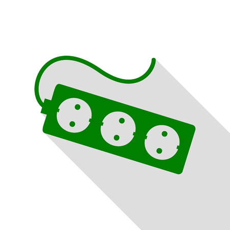 Electric extension plug sign. Green icon with flat style shadow path. Illustration