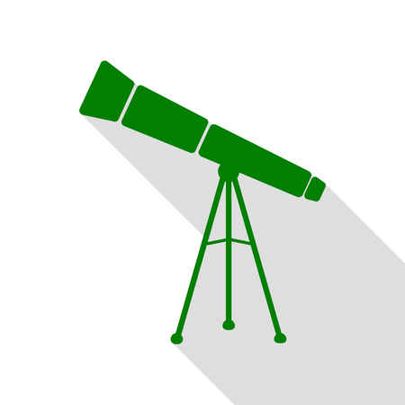 Telescope simple sign. Green icon with flat style shadow path.