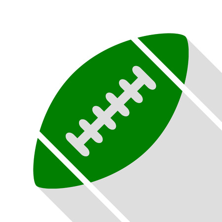 American simple football ball. Green icon with flat style shadow path.