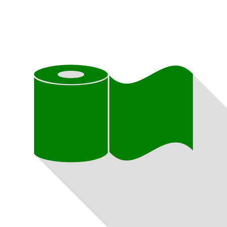 fecal: Toilet Paper sign. Green icon with flat style shadow path. Illustration