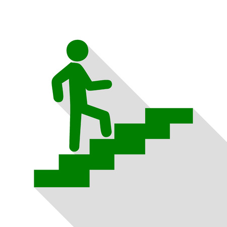 Man on Stairs going up. Green icon with flat style shadow path. Illustration