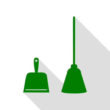whisk broom: Dustpan vector sign. Scoop for cleaning garbage housework dustpan equipment. Green icon with flat style shadow path. Illustration