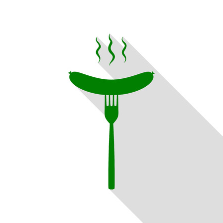 Sausage on fork sign. Green icon with flat style shadow path.