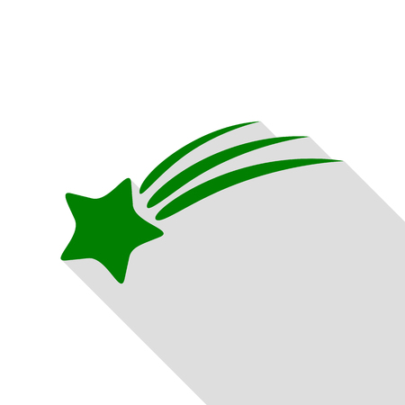 meteorite: Shooting star sign. Green icon with flat style shadow path.