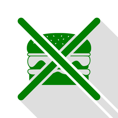 No burger sign. Green icon with flat style shadow path.