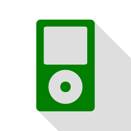 mp: Portable music device. Green icon with flat style shadow path.