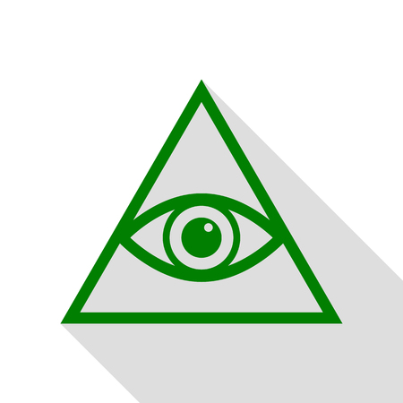 new world order: All seeing eye pyramid symbol. Freemason and spiritual. Green icon with flat style shadow path.