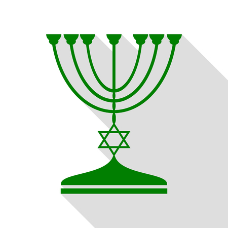Jewish Menorah candlestick in black silhouette. Green icon with flat style shadow path.
