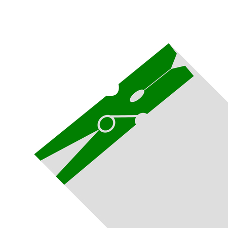 clothespeg: Clothes peg sign. Green icon with flat style shadow path.