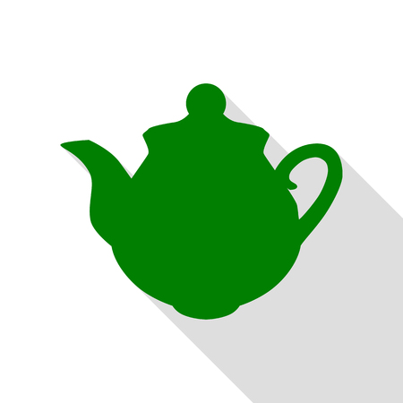 Tea maker sign. Green icon with flat style shadow path.