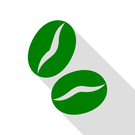 freshly: Coffee beans sign. Green icon with flat style shadow path.