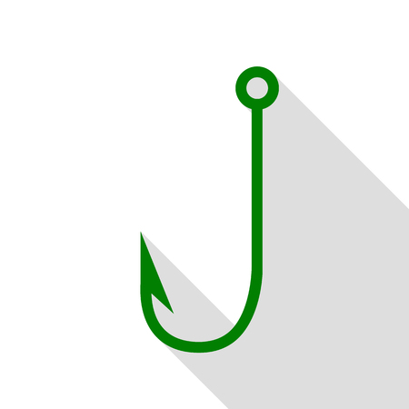 Fishing Hook sign illustration. Green icon with flat style shadow path.