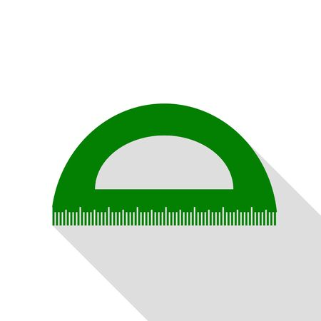 Ruler sign illustration. Green icon with flat style shadow path. Illustration