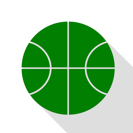 Basketball ball sign illustration. Green icon with flat style shadow path.