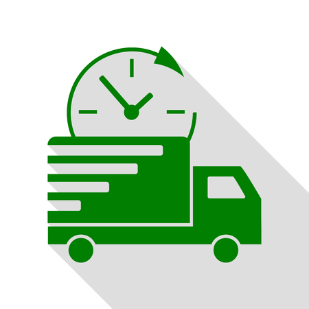 semitruck: Delivery sign illustration. Green icon with flat style shadow path. Illustration