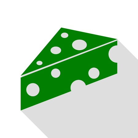 Cheese Maasdam sign. Green icon with flat style shadow path.