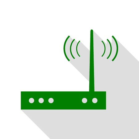 Wifi modem sign. Green icon with flat style shadow path. Illustration