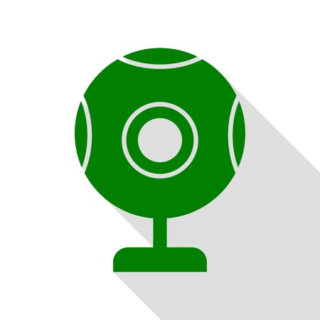 Chat web camera sign. Green icon with flat style shadow path.