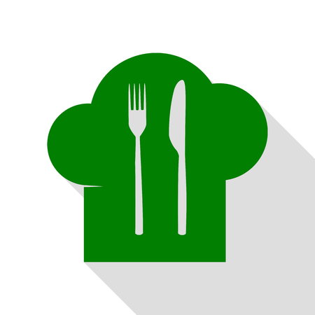 Chef hat and spoon, fork, knife sign. Green icon with flat style shadow path.