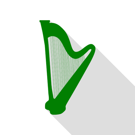 Musical instrument harp sign. Green icon with flat style shadow path. Illustration