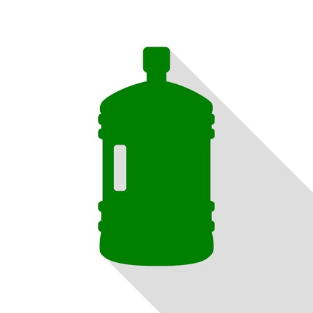 Plastic bottle silhouette sign. Green icon with flat style shadow path. Illustration